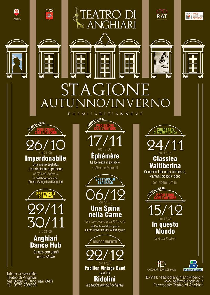 Locandina STAGIONE AUTUNNO/INVERNO 2019 Teatro di Anghiari
